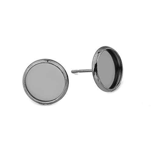 QA - 30 pendientes de acero inoxidable con base en blanco (6, 8, 10, 12, 14, 16, 18, 20 mm, para hacer joyas, accesorios YC825 (color: negro, tamaño: 10 mm)