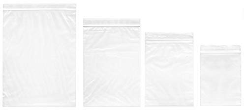 Small Plastic Bags,400pcs Ziplock Bags 4 Assorted Sizes 2x2 2x3 3x4 3.9x5.2 inch Clear 2 Mil Reclosable Zipper Storage Baggies for Daily Vitamin, Jewelry, Candy