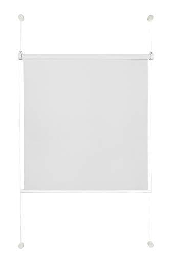 Rollo ohne Bohren Klemmfix Sichtschutz Sonnenschutz Fenster innen Alternative Plissee 100x130 cm Weiß