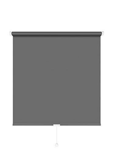 JalousieCrew Springrollo Classic Mittelzugrollo Schnapprollo Rollo anthrazit dunkel grau - Breite 60-220 cm Länge 180 cm und 230 cm Blickdicht Blickschutz (130 x 180 cm)