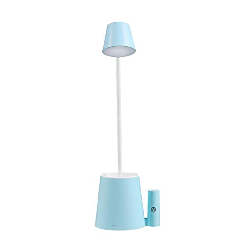 Sencillez Escritorio LED de la lámpara de control táctil 2 modos de color Sin Escala flexible puerto de carga USB titular de la pluma recargable Estudiante sitio del dormitorio Lujoso (Color : Blue)