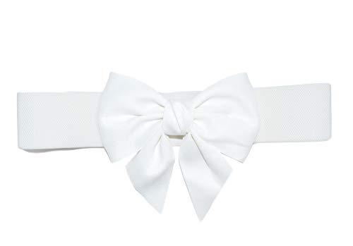 TeeYee Damen Mädchen Fashion und Groß Schleife Decor Elastische Tailleband Breiter Gürtel (L, weiß)
