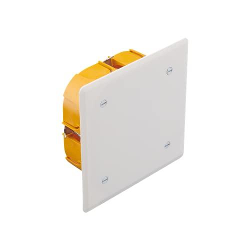 Boite de derivation electrique - boite derivation - Boite de derivation etanche exterieur - Boîte de dérivation encastrée carrée/Dimensions 100 cm x 100 cm x 40 mm/Cloison sèche - Orange