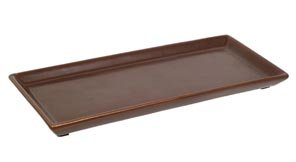 Hosley 11' Long Brown Ceramic LED Tea Light/Pillar Candle Tray. Ideal Gift for Wedding, Party, Votive Candle Gardens, Pedestal, Tray for Orbs, Bonsai, Floral Arrangements, Serve Ware. O6