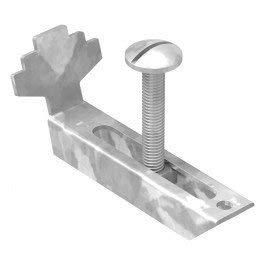 FeNau | Gitterrost-Klemmen-Unterteil für Rosthöhe 60-70 mm und MW: (30 mm / 10 mm) - S235JR / ST37 – feuerverzinkt gegen Korrosion - Gitterrost-Sicherung/Gitterrost-Befestigung