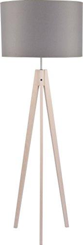 Dreibein Stehlampe Holzbeine Beige Stoff Schirm Grau H 140cm E27 Zylinder Stehleuchte Couch Wohnzimmer Standleuchte Standlampe