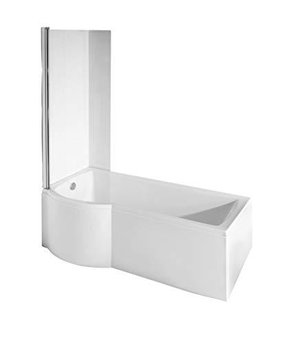 ECOLAM Duschbadewanne Set Badewanne + Badewannenabtrennung Duschwand Eckbadewanne Inspiro 160x70 cm LINKS Acryl weiß + Schürze Ablaufgarnitur Ab- und Überlauf Automatik Füße Silikon