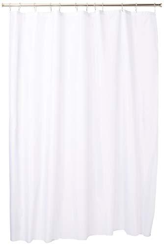 InterDesign シャワーカーテン 防水加工 布製 無地 183cm x 183cm ホワイト 14652EJ
