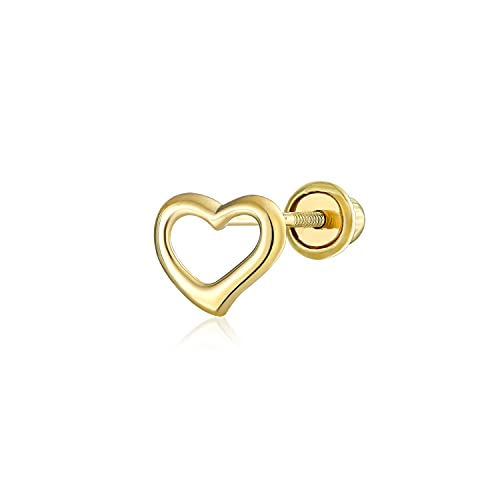 Ani's Pendiente pequeño de cartílago con forma de corazón abierto para mujeres y hombres en plata 925 chapada en oro amarillo de 14 quilates
