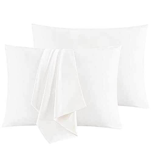 """Sutuo Home Silk Pillowcase 2 Pack 100% Mulberry Silk Pillow Cases for Hair and Skin Both Sides 19 Momme Natural Silk Pillow Cover Super Soft and Smooth Queen 20""""x30"""" White"""