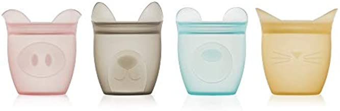 Zip Top 100% Platinum Silicone Baby Snack Containers (4 Set)