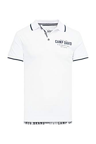 Camp David Herren Poloshirt aus Jersey mit kleinem Artwork, Opticwhite, 3XL