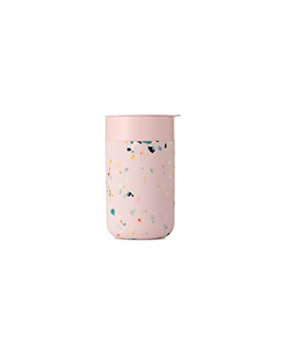 W&P WP-PMCL-TZBL Porter Travel Protective Silicone Sleeve, 16 Ounce Terrazzo Blush, Reusable Cup for Coffee or Tea, Portable Ceramic Mug with BPA-Free Press-Fit Lid, Dishwasher Safe, On-The-Go