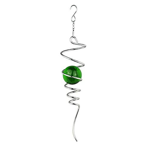 Morobor Campanas de viento giratorias, decoración de bola de cristal, decoración para interiores y exteriores, cola en espiral colgante gancho giratorio 11 pulgadas/verde