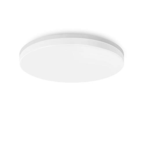 LVWIT Lámpara de Techo LED - 18W IP54 Impermeable, Plafón LED de 1700 lúmenes, Color blanco neutro 4000K, No regulable - Baño Cocina.