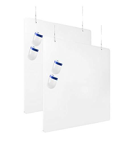 Mamparas Protectoras COLGANTES para Mostrador | Mesas, Barras, Escritorios, 120 cm de ancho X 80 cm alto, 3 mm de grosor | Metacrilato | color transparente | incluye kit de montaje | 2 unidades |