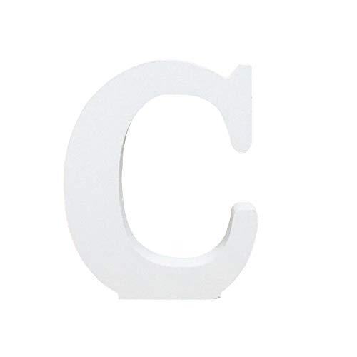 Holzbuchstabe Buchstabe, Toifucos A-Z DIY Englisch Alphabet Holz Buchstaben Handwerk Ornamente für Zuhause Hochzeit Geburtstagsfeier Dekoration Zubehör, Weiß 1 pcs C