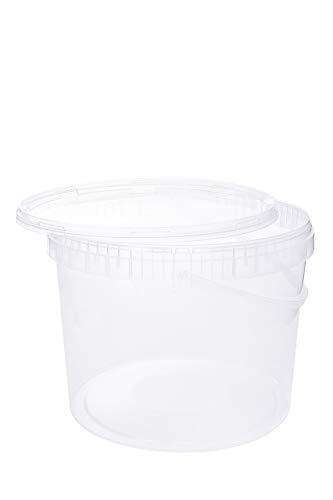 Cubo con tapa, cubo de plástico, tapa con asa, apto para alimentos 5 litros transparente