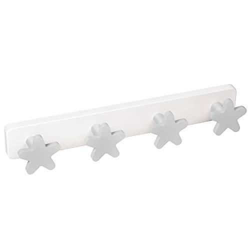 APPENDIABITI da Parete camera BEBÉ bambino Stelle grigio legno laccata base plastica resine ABS 410x60MM