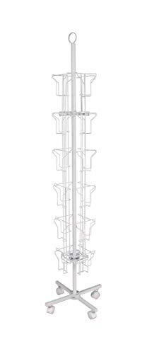 """FixtureDisplays 24-Pocket 5.5"""" Wide Pocket (Fits 5x7"""") Vertical Greeting Card Display Spinning Greeting Holiday Card Rack Floor Stand Pocket Size: 5.8""""Wide X 8""""High, 24 Pockets. 11703-Wht-2D"""