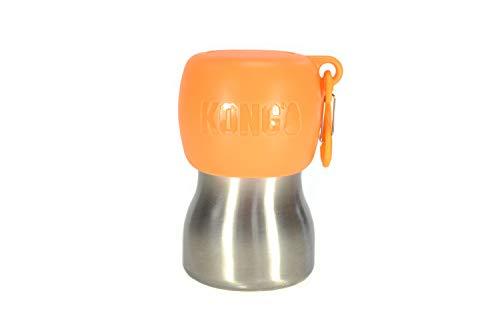 KONG H2O Botella de agua para perro de acero inoxidable y tazón de viaje para mascotas, 9.5 onzas - naranja