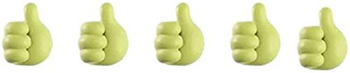 Gancho para el pulgar de 5 colores, Ganchos para clip con forma de pulgar Manejo ideal de cables de cable, Soporte para cable de datos Gancho Cocina Baño Sombrero para automóvil (Verde)