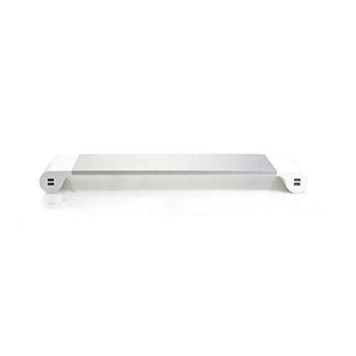 LEDMOMO Computer Monitor Ständer Laptop Riser Halter Aluminium USB Ladeanschlüsse mit EU-Stecker (Silber)