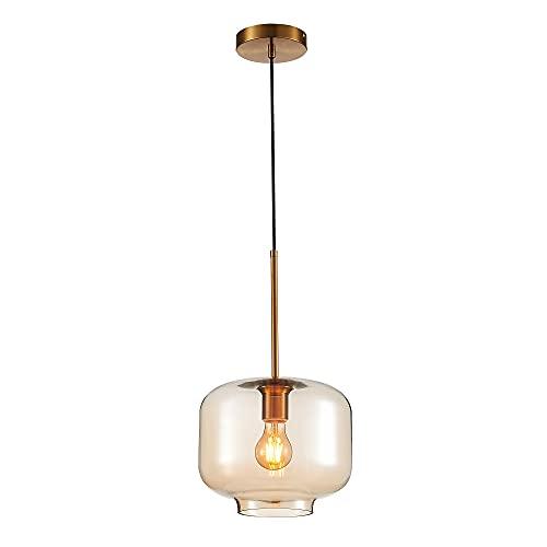 Lámpara de techo colgante con tulipa de cristal y metal oro viejo de Ø 25x21 cm - LOLAhome