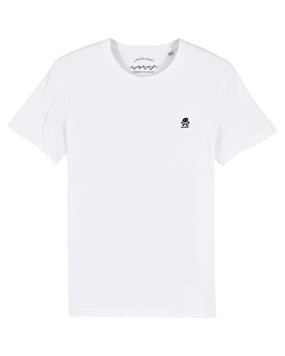 Camiseta Callate La Boca Blanca Básica con Calavera Bordada en Azul Marino (L)