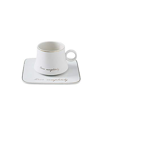 RONGXIANMA Taza 180 ml Taza de cerámica de Porcelana Juego de platillo de café con Leche de Soja Juego de Taza de té de café con Cuchara Dorada