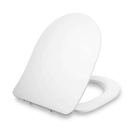 Dombach® Aliano Premium Toilettendeckel D-Form Slim-Design WC Sitz mit Absenkautomatik, Abnehmbar Ergonomisch Klobrille, Antibakteriell Familie Toilettensitz aus Duroplast Klodeckel WC-Sitze, Weiß