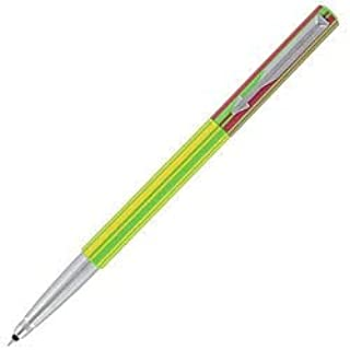 Unknown1 Green/Yellow/red Striped Plastic/Metal Rollerball Pen Plastic