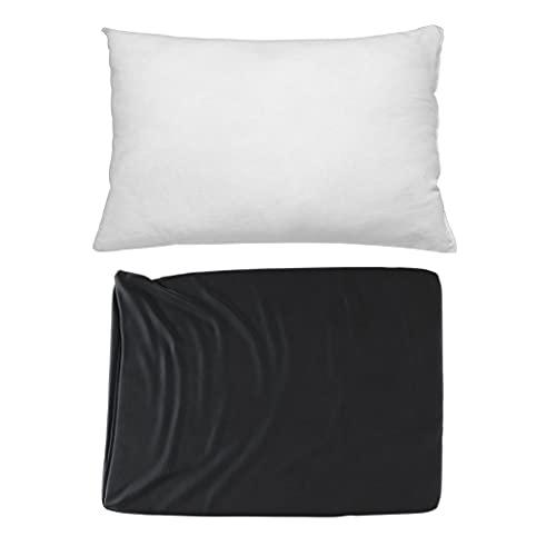 Cojines Sofa con Relleno Incluido Pack de 2 Cojines completos de 35x50 en Color Negro / Cojines Decorativos para Sofa , Cama , Salon / Fundas de Terciopelo Elegantes para la decoración del hogar ⭐