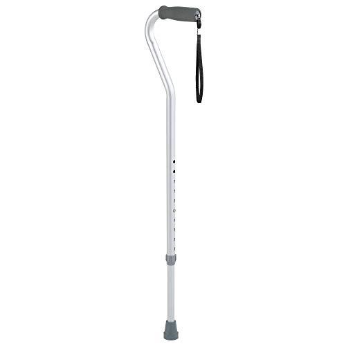 Carex Aluminum Offset Cane with Soft Cushioned Handle - Adjustable Walking Cane for Men and Women - Silver Color