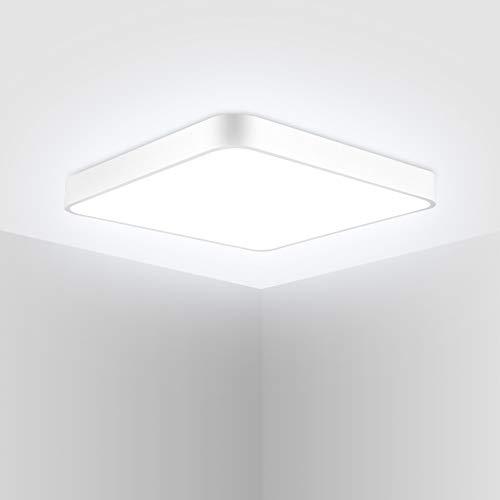 DYBITTS - Lámpara de techo cuadrada y ultrafina, regulable, con mando a distancia, redonda, para cuarto de baño, salón, pasillo, cocina, balcón (24 W, regulación continua)