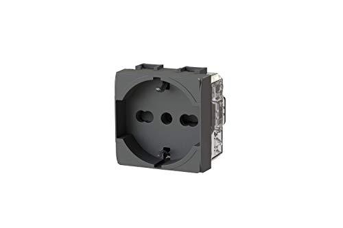 Toma eléctrica schuko tipo P40 compatible con Bticino LivingLight Antracita