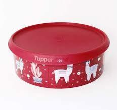 Tupperware Bingo Ergonomica Weihnachtsdose Keksdose in ROT/Glitzer Motiv Lama 2,4L