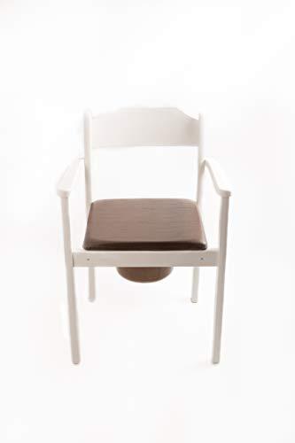 Hygienischer Toilettenstuhl, Nachtstuhl, Premium Design, hochwertiges Holz, gepolstertere Sitzfläche, herausnehmbarer Eimer mit Deckel, zertifizierte Toilettenhilfe (Weiß)