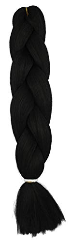 Trenzas negras #2 – Pelo sintético trenzado/trenzas de 120 cm de largo/100...