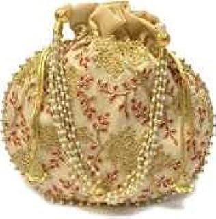 Women's Potli Bag by Ishvik Creation's | Embroidery, Drawstring (Beige)