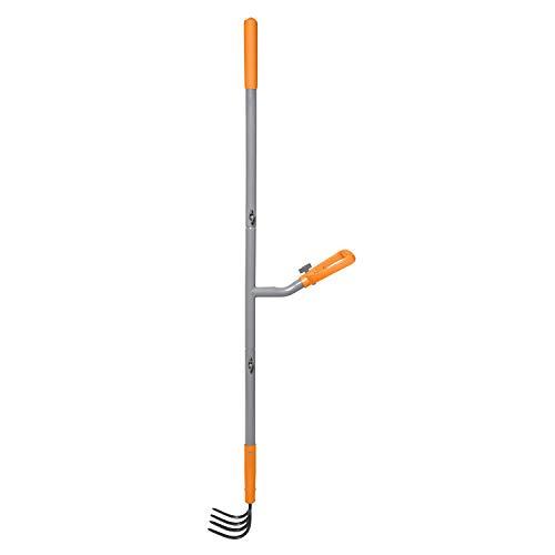 ERGIESHOVEL ERG-CLTV45 4-Tine Garden Soil w/54 Shaft, 5-in-1 Piece Forged Steel Head Cultivator, Gray/Orange