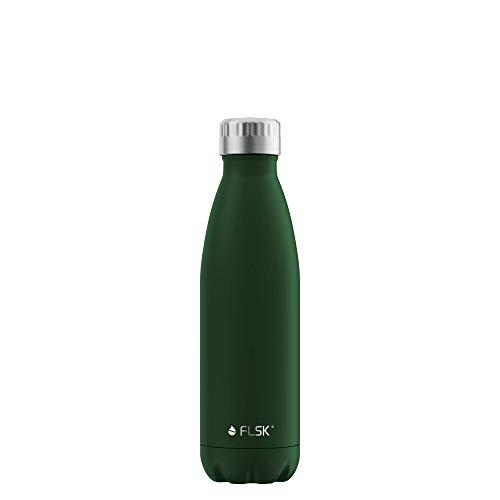 FLSK La bouteille isotherme originale conserve la chaleur pendant 18 heures et le froid pendant 24 heures (couleur forêt, taille 500 ml).