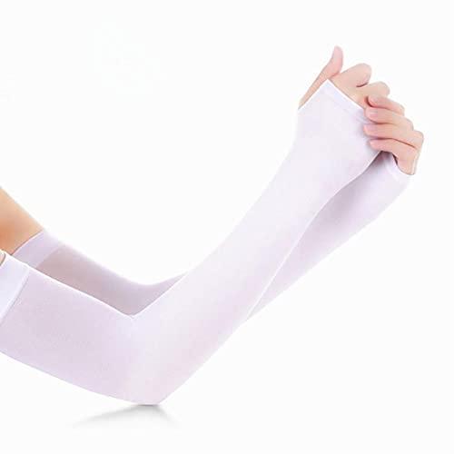 DovSnnx Mangas del Brazo para Hombre Y Mujere Anti UV Protección Manguitos UPF 50+ Antideslizantes Transpirable De Actividades Al Aire Libre Color Sólido Blanco
