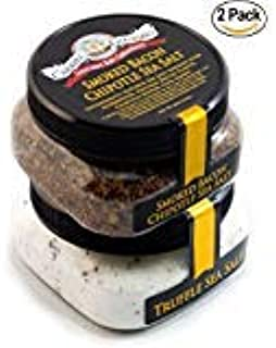 Gift Pack for Foodies - Italian Black Truffle Sea Salt & Smoked Bacon Chipotle Sea Salt - for Steaks, Popcorn, BBQ, Fries, Salads, and More (8 total oz.)