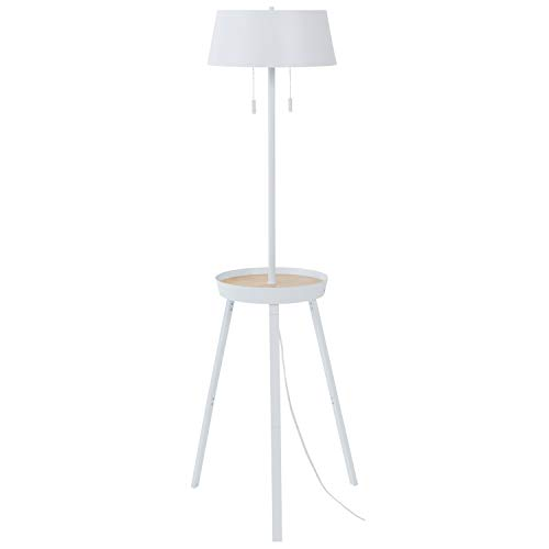 Amazon Brand – Rivet Modern Shelving/Storage Space Floor Lamp with USB and Bulb, 59'H, White