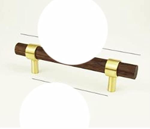 Combinante de estilo nórdico de latón y madera de nogal negro Manija de armario Tirador de puerta Manija de color ajustable Perilla-bw 96mm