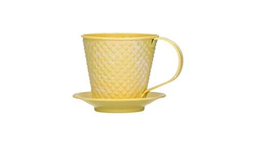 AmaCasa Blumentopf aus Metall   Tasse inkl. Unterteller und Henkel   In Gelb   Übertopf   Topf für Haus und Garten   10x10x12cm   Landhausstil   Shabby Chic   Vintage