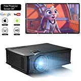 """DOACE P1 HD 1080P Video Projector with Portable Screen 84"""" for Indoor Outdoor, Home Theater Projector Support USB SD Card VGA AV for Home Cinema TV Laptop Game Smartphone with Free AV Cable"""