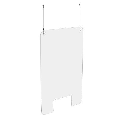 Exacompta 80158D Spuckbescherming/scheidingswand Exascreen, om op te hangen, met ramen, 100 x 66 cm, praktisch en veilig, glashelder, 1 stuk