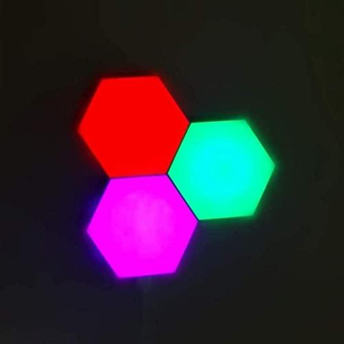 Hexagon Quantum Lampa LED Multicolour Module Light Splicing Lights Smart Wall Lights Sync med musik DIY Splicing Quantum Lampa med RF Remote Timer Hexagon LED lampor för sovrum vardagsrum och-3pc